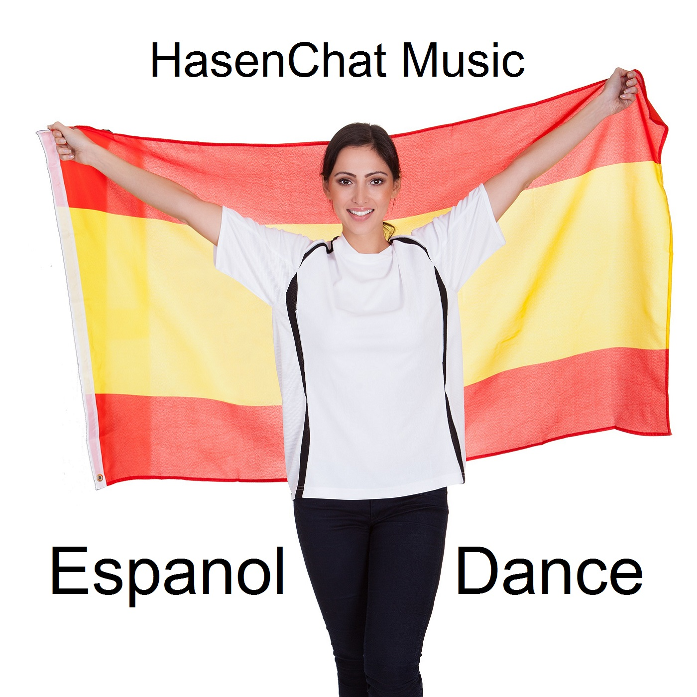 Portrait Of A Happy Pretty Woman Holding Spanish Flag. Isolated On White
