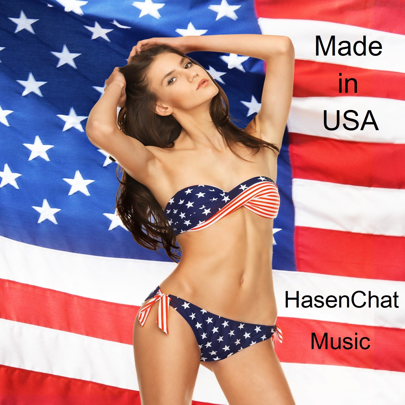 picture of model in bikini with american flag